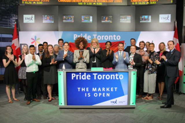 Rachel Lauren Clarke, Board Secretary, Pride Toronto, joined Tanya Rowntree, Vice-President, Regional Sales, TSX Trust Company to open the market in celebration of Toronto's 36th annual Pride festival, and first-ever Pride Month. Pride Toronto is a not-for-profit organization that celebrates the history, courage, diversity and future of Toronto's Pride community. June 2016 features extended programming and events throughout the city, culminating with the 36th annual Pride Parade on Sunday, July 3. The annual Pride Toronto festival has become a major Canadian arts and cultural event and the largest Pride celebration in North America. For more information please visit www.pridetoronto.com. (CNW Group/TMX Group Limited)