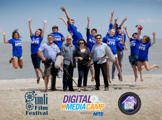 Participants of the MTS Digital Media Camp on set in Gimli, Manitoba. The camp, a film immersion program for Manitoba youth dedicated to learning how to create a short film, ran from July 15 to 19 (CNW Group/MTS Allstream)