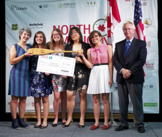 Team from University of Toronto Schools (UTS) received top prize at North American Envirothon hosted by Forests Ontario at Trent University in Peterborough. UTS represented Ontario at this high school environmental education competition. (CNW Group/Forests Ontario)