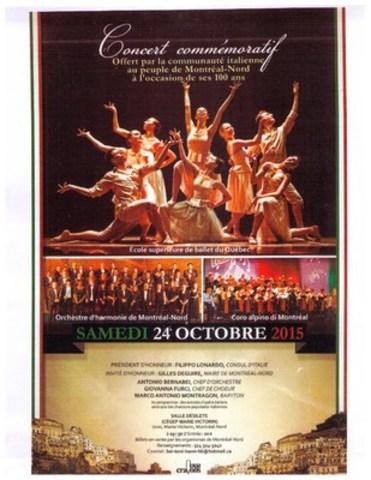 Grand concert commemoratif pour le 100e anniversaire de Montreal-Nord. (Groupe CNW/Orchestre d'harmonie de Montréal-Nord)