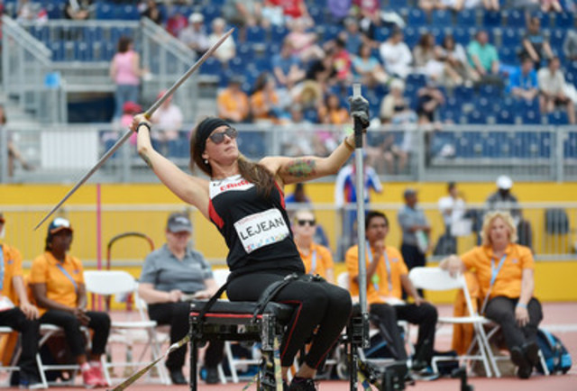 Participants will have the chance to meet Pamela LeJean, who has emerged as one of Canada's top throwers in para-athletics in recent years. At the Toronto 2015 Parapan American Games, she won gold in the shotput and bronze in the javelin. A few weeks later at the 2015 IPC World Championships, she won silver in the shotput. Photo : Matthew Murnaghan / Canadian Paralympic Committee (CNW Group/Canadian Paralympic Committee (CPC))