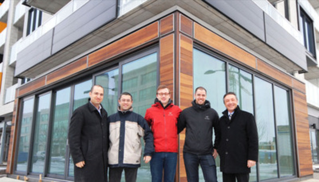 (From left to right) Mr. Ilan Gewurz, Vice-President of Proment Corporation, with the owners of the bakery-cafe Mamie Clafoutis, Clovis Bernard, Joseph Sabatier and Nicolas Delourmel, and Mr. Louis-Joseph Papineau, Vice-President Development and Construction of Proment Corporation. (CNW Group/Proment Corporation)