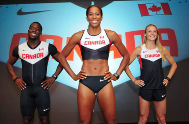 Today, Nike and Athletics Canada unveiled Team Canada's 2012 Track and Field Uniforms with athletes Justyn Warner (100m & 4x100m), Phylicia George (100m Hurdles) and Sarah Wells (400m Hurdles) (CNW Group/Nike Canada Ltd.)