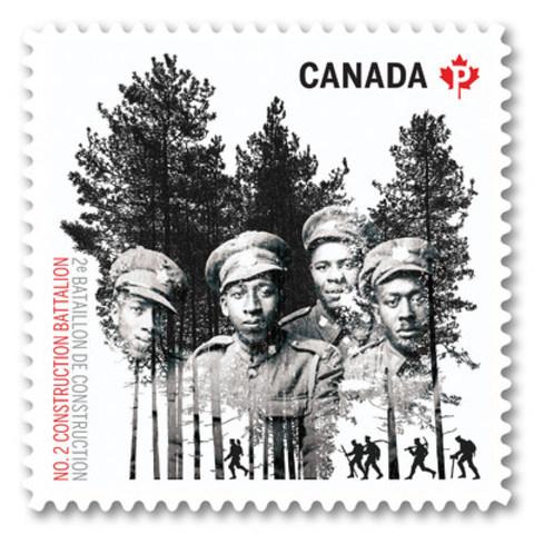 Image du timbre qui rend hommage à une unité canadienne noire de la Première Guerre mondiale (Groupe CNW/Postes Canada)