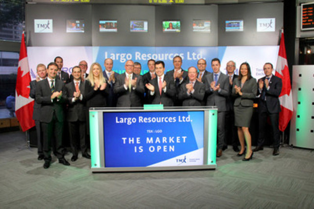 Mark Smith, President & Chief Executive Officer, Largo Resources Ltd. (LGO), joined Orlee Wertheim, Head, Business Development, Global Mining, TMX Group to open the market. Largo Resources is a growing mineral company focused on the production of vanadium pentoxide at its Vanadio de Maracás Menchen Mine. Largo Resources Ltd. graduated from TSX Venture Exchange, and commenced trading on Toronto Stock Exchange on July 4, 2016. For more information, please visit www.largoresources.com. (CNW Group/TMX Group Limited)