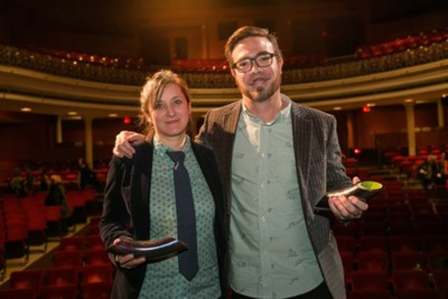 On October 23, the National Theatre School of Canada awarded a Gascon-Thomas Award to playwrights Hannah Moscovitch and Olivier Choinière. (CNW Group/Ecole nationale de théâtre du Canada)