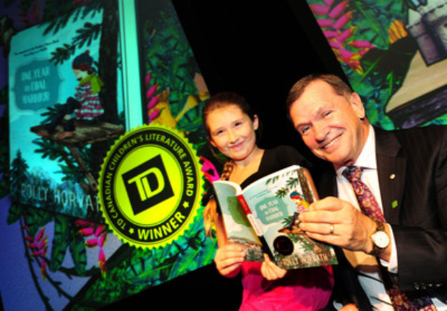 Annaka Leib celebrates the 2013 TD Canadian Children's Literature Award winner - One Year in Coal Harbour written by Polly Horvath with Frank McKenna, Deputy Chair, TD Bank Group and TD's Literacy Advocate (CNW Group/TD Bank Group)
