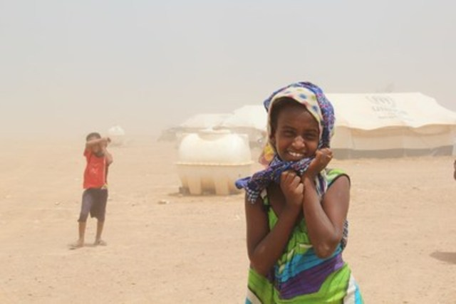 10-year-old Sabah lives at the Markazi refugee camp for Yemenis in Obock, Djibouti, with her mum and younger brother. They escaped the conflict in Yemen after their home was flattened by rockets. Sabah wants to become a doctor in the future so she can help her mother. (CNW Group/UNICEF Canada)