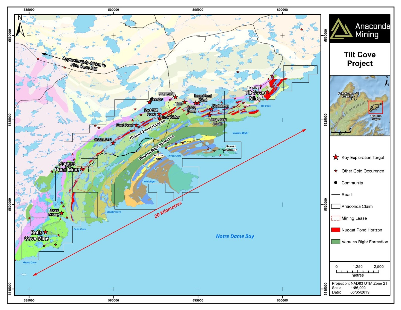 Exhibit A. A geological map of the Tilt Cove Project in the Baie Verte Mining District of Newfoundland. The map highlights the Nugget Pond Horizon and the Venams Bight Formation as key host rocks to gold deposits at both the Tilt Cove and Point Rousse Projects as well as key exploration targets.