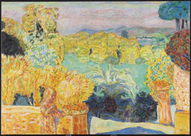 Pierre Bonnard, Paysage du Midi et deux enfants, 1916-1918 (Art Gallery of Ontario) // Portrait de Pierre Bonnard (CNW Group/Musée national des beaux-arts du Québec)