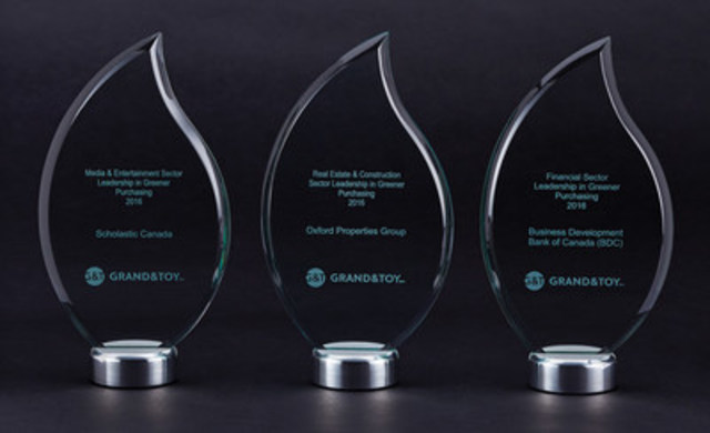 First annual Grand & Toy Leadership in Greener Purchasing Awards announced winners in various sectors across Canada on April 21, 2016 (CNW Group/Grand & Toy)