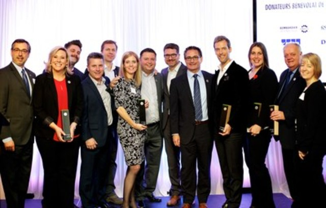 Moisson Montréal's Annual Recognition Evening, November 10, 2015  On the picture from left to right: Richard Blain, Ève-Marie-Lortie, Jules Hébert, Sylvain Jodoin, Pierre Gagnon, Lisa Lemay, Dany Michaud, Steve Lamontagne, Glenn Acton, Luc Briand, Jennifer Kirby, Claude Poisson, Lucie Gérin (CNW Group/MOISSON MONTREAL)