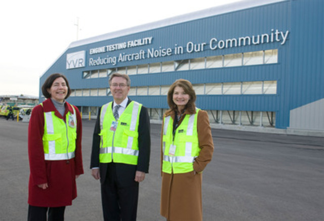 Vancouver Airport Authority opens Canada's first Ground Run-up Enclosure to reduce aircraft engine testing noise in the community. (l to r: From Vancouver Airport Authority: Anne Murray, VP Community and Environmental Affairs; Larry Berg, President and CEO; Mary Jordan, Chair) (CNW Group/Vancouver Airport Authority)