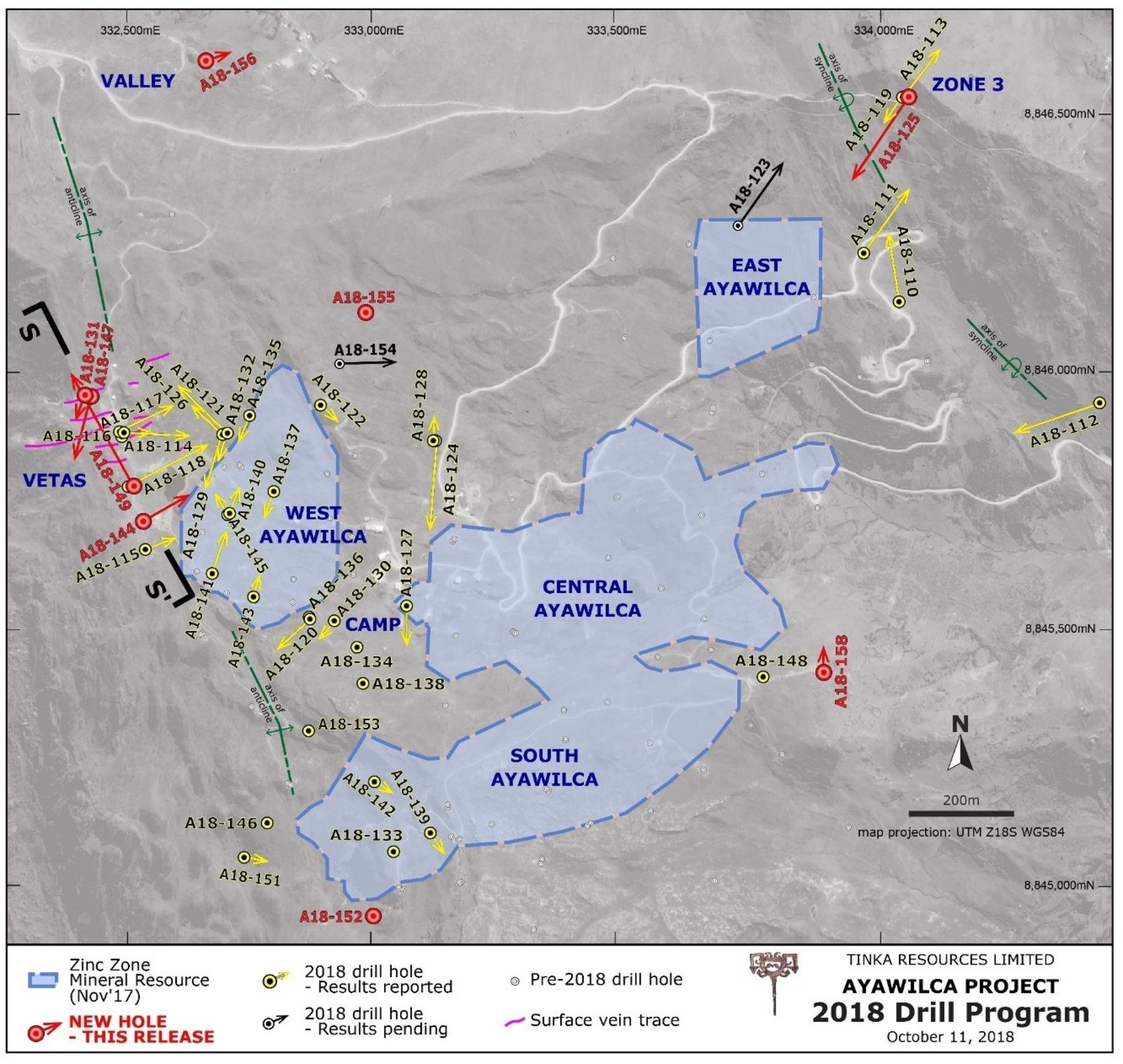 Figure 2.  Ayawilca drill hole map highlighting 2018 holes & existing zinc resources