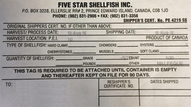 Five Star Shellfish Inc. - 100 morceaux (Groupe CNW/Agence canadienne d'inspection des aliments)