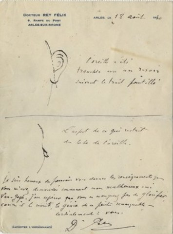 Diagram by Dr. Felix Rey, the attending physician, showing how and where Van Gogh cut off his ear. Credit: The Bancroft Library, University of California, Berkeley. (CNW Group/Penguin Random House Canada Limited)