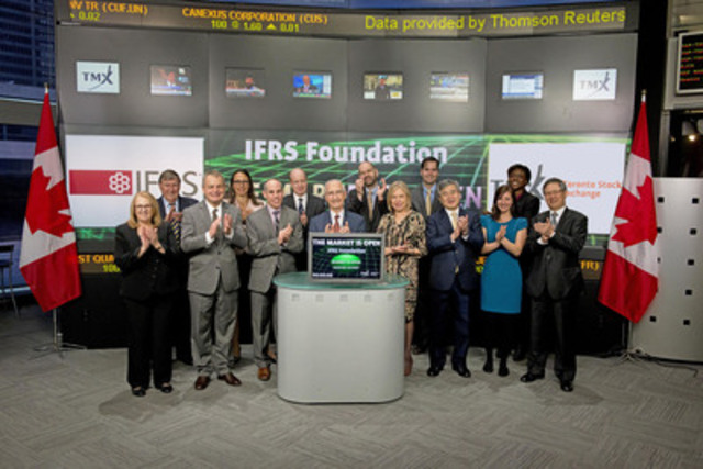 Michael Prada, Chair, IFRS Foundation Trustees joined Michael Ptasznik, Chief Financial Officer, TMX Group to open the market. The IFRS Foundation is an independent, not-for-profit organization working in the public interest to develop a single set of globally accepted International Financial Reporting Standards (IFRS). The Trustees of the IFRS Foundation are responsible for the governance and oversight of the International Accounting Standards Board (IASB). Worldwide each quarter Trustees meet to promote and discuss the use of IFRS. The Toronto Chapter will be meeting April 14-15, 2015. For more information please visit http://www.ifrs.org/Pages/default.aspx (CNW Group/Toronto Stock Exchange)