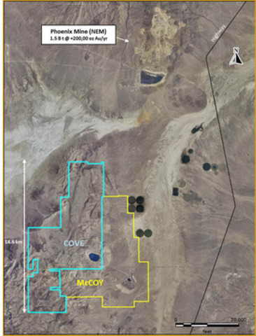 Image 1 - Cove-McCoy Property outline (CNW Group/Premier Gold Mines Limited)