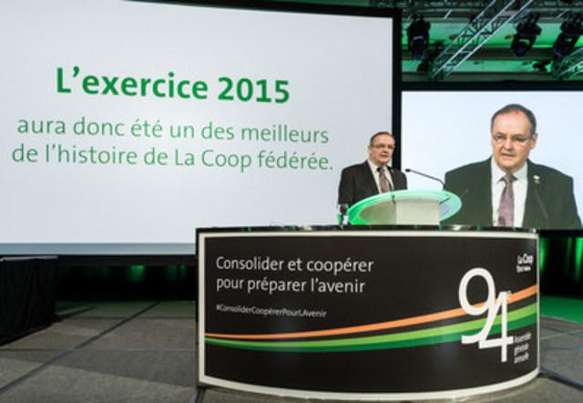 Denis Richard, président de La Coop fédérée durant l''Assemblée générale annuelle (Groupe CNW/La Coop fédérée)