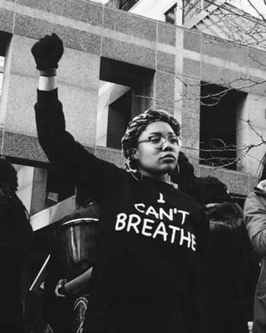 Black Lives Matter-Toronto Co-Founder Pascale Diverlus at BLMTO BlackOUT Against Police Violence Rally Saturday March 26th 2016. Photographed by Paige Galette (CNW Group/Black Lives Matter - Toronto)