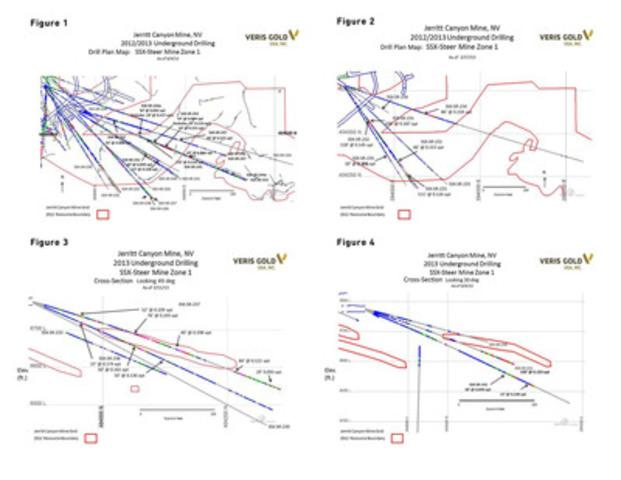 Figures 1- 4. Jerritt Canyon Mine, NV. 2012/2013 Underground Drilling. SSX-Steer Mine Zone 1 (CNW Group/Veris Gold Corp.)
