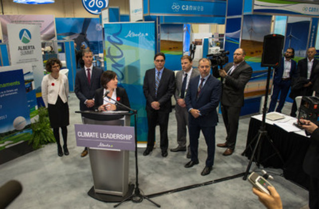 Provincial Environment Minister Shannon Phillips speaks at the Canadian Wind Energy Association's (CanWEA) 32nd annual conference and exhibition in Calgary, Alta. on Thursday, Nov. 3 2016. Bryan Passifiume/CanWEA (CNW Group/Canadian Wind Energy Association)