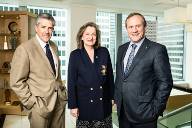 From left to right : Matthew Pearce, President and CEO of the Old Brewery Mission ; Marie Claire Morin, President and CEO of the Old Brewery Mission Foundation.; Louis Audet, President and CEO of Cogeco Inc. (CNW Group/Old Brewery Mission Foundation)