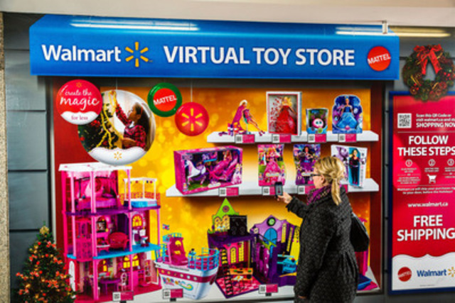 Mattel and Walmart Canada revolutionize window shopping with Canada's first pop-up virtual toy store. (CNW Group/Mattel Canada, Inc.)