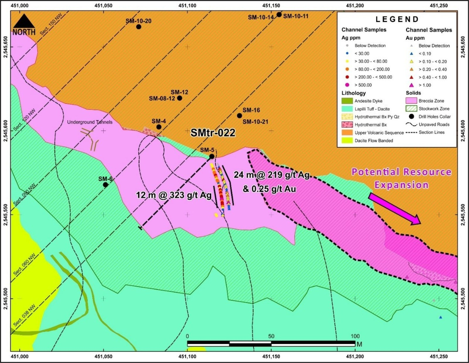 Figure 4 Location of SMtr-022 Trench – SE Extension of San Marcial Resource Area