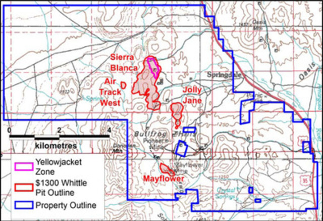 Figure 1: Corvus land position at North Bullfrog with estimated resource areas shown. (CNW Group/Corvus Gold Inc.)