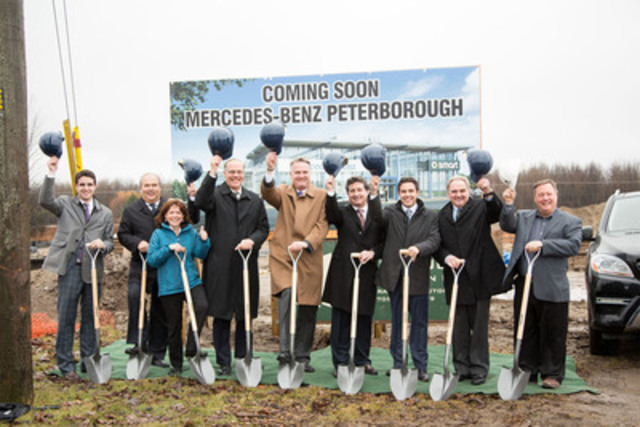 From left to right: Eric Santos, Business Manager, Mercedes-Benz Peterborough, Hannu Ylanko, Vice President, National Sales, Mercedes-Benz Canada, Lesley Parnell, Ward Councillor, Darryl Bennett, Mayor of Peterborough, Tim A. Reuss, President and CEO, Mercedes-Benz Canada, Peter Santos, Dealer Principal, Mercedes-Benz Peterborough, Michael Santos, General Manager, Mercedes-Benz Peterborough, Dan McWilliams, Ward Councillor, Tom Mortlock, General Contractor (CNW Group/Mercedes-Benz Canada Inc.)