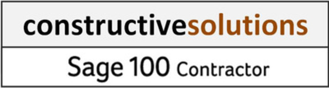 Constructive Solutions Adds Sage 100 Contractor Software for Canadian Contractors (CNW Group/Constructive Solutions for Business Inc.)