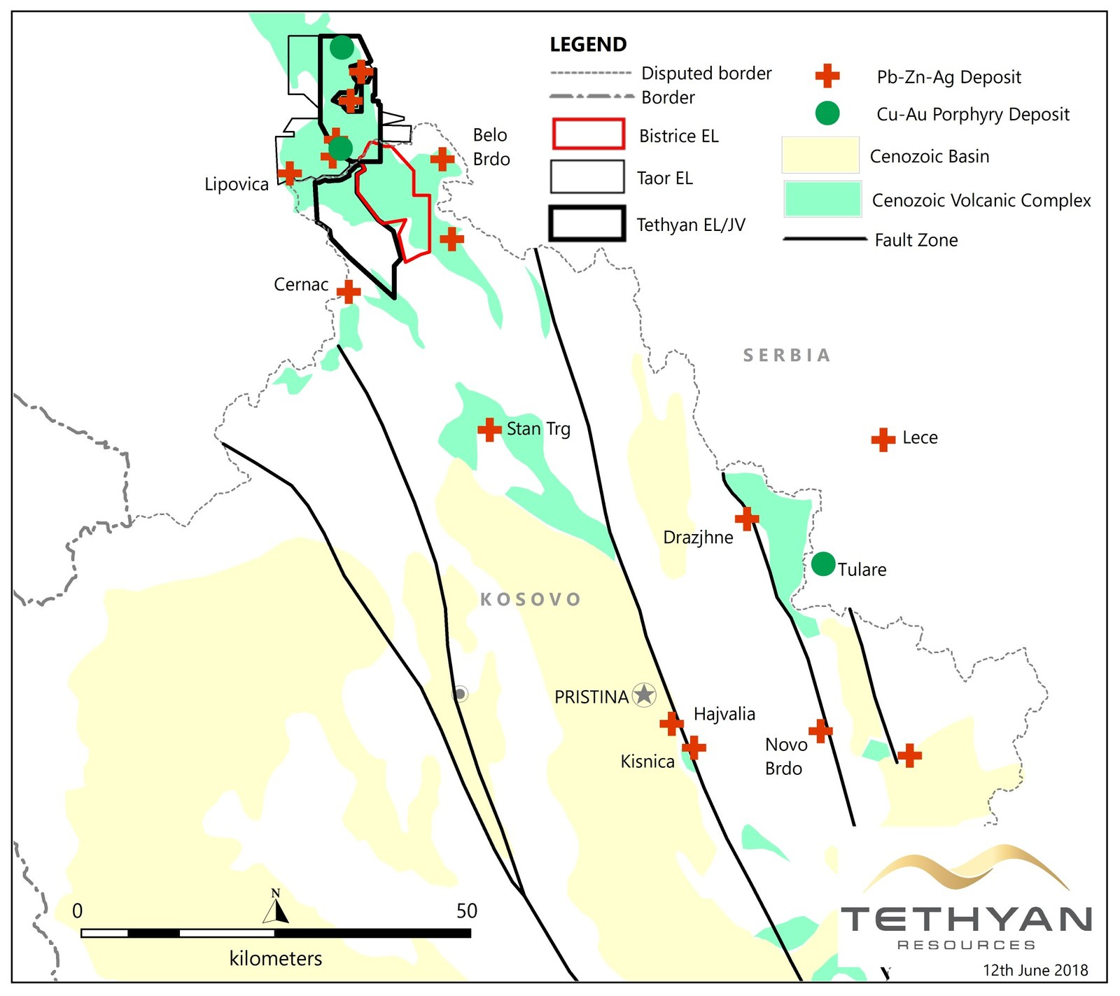 Figure 1: The Bistrice exploration license shown with simplified geology of Kosovo and the mineral deposits of the 'Trepca' mining district. Sources: www.kosovo-mining.org and internal company data.