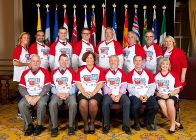 Provincial and Territorial Health Ministers gather in Halifax to support sport leading up to Sports Day in Canada, a national celebration of sport at all levels, presented by ParticipACTION and True Sport. 1st row: Hon. Horne (AB), Hon. Duncan (SK), Hon. Oswald (MB), Hon. Graham (YT), Hon. Rondeau (MB), Hon. Sullivan (NL). 2nd row: K. Murumets (ParticipACTION), Hon. Beaulieu (NT), Hon. Peterson (NU), Hon. Currie (PE), Hon. Wilson (NS), Hon. Weeks (SK), Hon. Hébert (QC), Hon. Matthews (ON). (CNW Group/ParticipACTION)