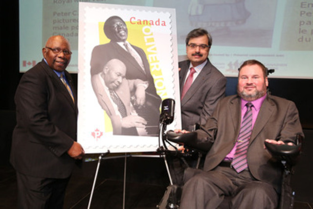Jazz legend Oliver Jones was in Ottawa last night alongside the Honourable Steven Fletcher, Minister of State (Transport) and Canada Post President and CEO, Deepak Chopra, to unveil his stamp. The stamp is part of a series dedicated to Black History Month issued last Friday by Canada Post. (CNW Group/Canada Post)
