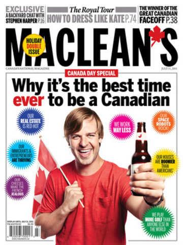 In it's annual Canada Day issue, Maclean's magazine counts the ways it is great to be Canadian. (CNW Group/Maclean's Magazine)