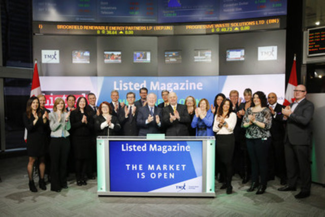 Marty Tully, Publisher, Listed Magazine, joined Suzanne Peters, Director, Business Communications & Strategic Programs, TMX Group to open the market, celebrating the start of Listed Magazine's seventh year of publishing. Launched in 2010, Listed was created exclusively for officers and directors of Canada's issuing community. The magazine covers a full range of topics relevant to the board, including corporate finance, risk management, M&A, CSR, executive compensation, investor relations, and governance. For more information, please visit www.listedmag.com. (CNW Group/TMX Group Limited)