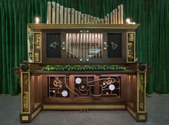 The Hendrick's® CORGAN, or rather, the Cucumber Organ of Remarkably Glorious Auditory Nirvana, is the first of its kind. The organ keys are made of real, whole cucumbers which harness the energy of touch to translate electric currents from the organist's fingertips though each individual cucumber resulting in a beautiful composition of some of the world's most beloved and unusual melodies. (CNW Group/William Grant & Sons Ltd.)
