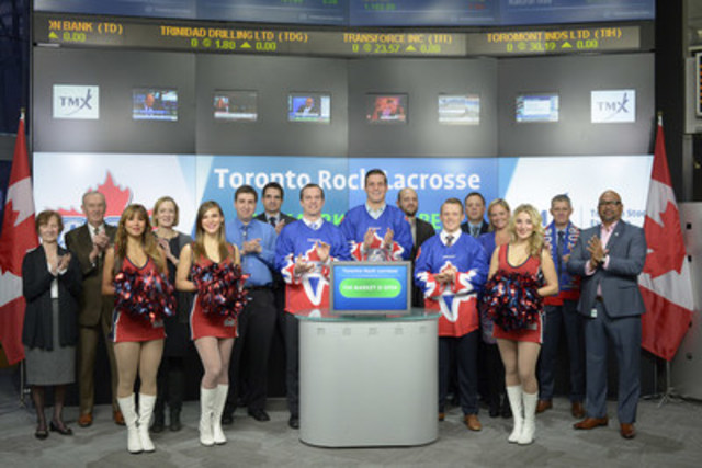 Players from the Toronto Rock Lacrosse team joined Tim Babcock, Director, Listed Issuer Services, TSX Venture Exchange to open the market to kick-off their 2016 season. The Toronto Rock is a member of the 9-team National Lacrosse League (NLL) and has won six NLL Championships. In just 17 seasons they are tied for the most championships in league history. The Rock begins their home season in Toronto on Thursday, January 14th at the Air Canada Centre. For more information please visit www.torontorock.com. (CNW Group/TMX Group Limited)
