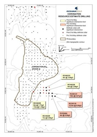 Figure 8 – Coronation Pit drill holes (plan view) (CNW Group/OceanaGold Corporation)