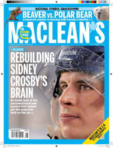 """In Maclean's annual """"Rethink"""" Innovation Issue, readers can see stories on the page come to life using their computer or handheld device. This """"augmented reality"""" technology can be used to learn even more about our exclusive cover story, which takes an inside look at the unconventional new science that helped put Sidney Crosby back on the ice after his concussion. (CNW Group/Maclean's Magazine)"""