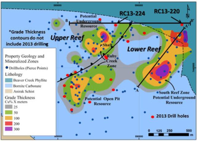 Figure 1: Bornite Drill Hole Location Map (CNW Group/NovaCopper Inc.)