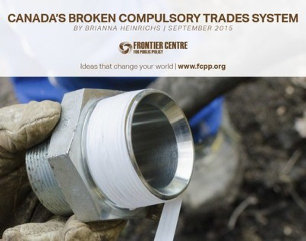 Compulsory certification of trades can have negative, unintended consequences, particularly, fewer workers or providers of a service and more-expensive services or products (CNW Group/Frontier Centre for Public Policy)