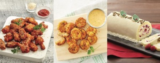 Try easy-to-prepare menu items from M&M Food Market like NEW Spicy Maple Chipotle Chicken Wings, Crab Cakes with Cajun Style Dip or NEW Festive White Yule Log for a simple, delicious and festive holiday season. (CNW Group/M&M Food Market)
