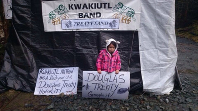 Kwakiutl First Nation Continues Protest Near Port Hardy (CNW Group/Kwakiutl First Nation)