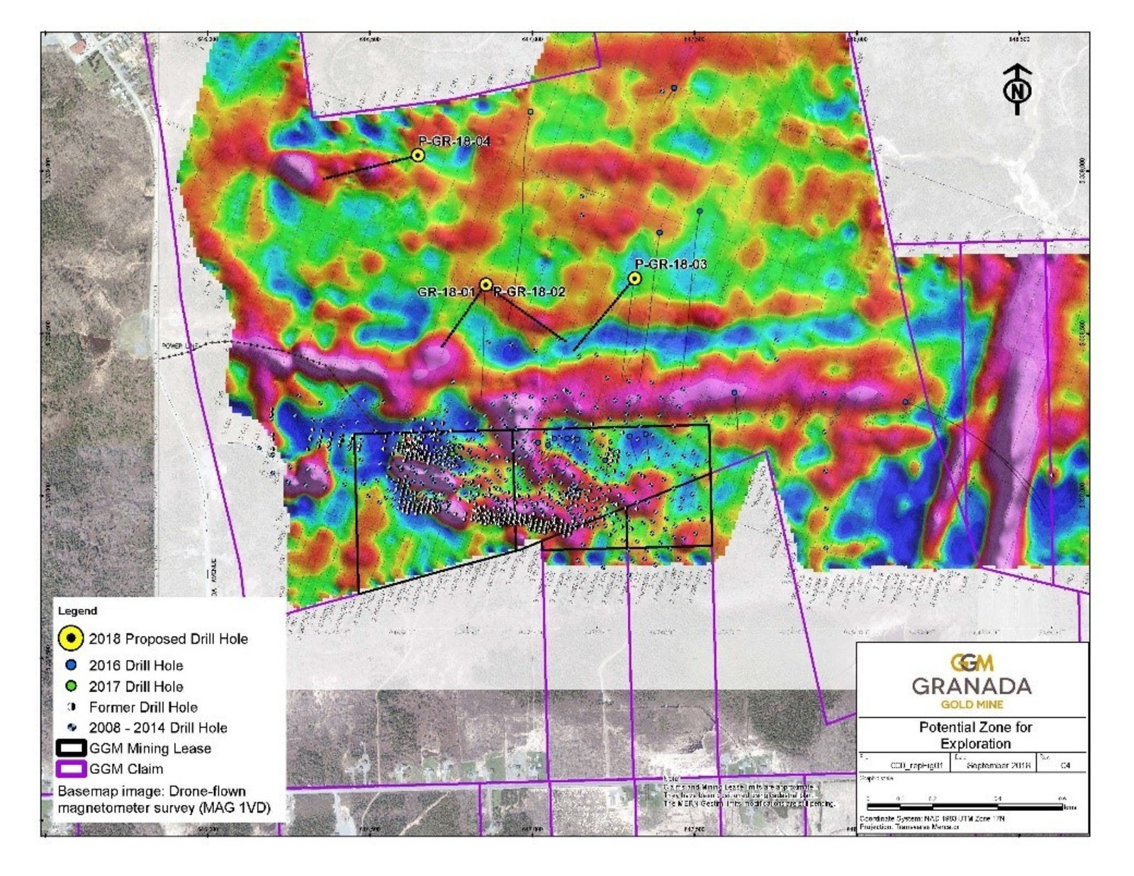 Figure 1: Location map of the drill program underlain by the Drone Airborne survey at Granada