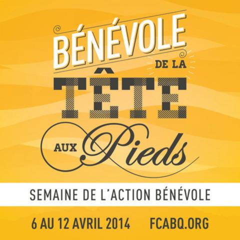Dévoilement du thème québécois de la Semaine de l'action bénévole 2014. (Groupe CNW/Fédération des centres d'action bénévole du Québec)