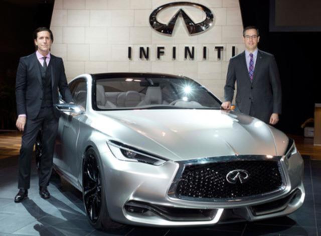 (De gauche à droite) Le directeur général du design d'Infiniti Motor Company, Alfonso Albaisa, et le directeur général national à Infiniti Canada, Stephen Lester, présente le Q60 Concept d'Infiniti - un précurseur du prochain coupé sport haute performance de la marque – au Salon international de l''auto du Canada 2015. (Groupe CNW/Infiniti)