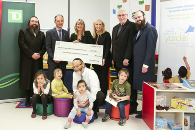 Back row (left to right): Menachem Leifer, Executive Director, Yaldei, Clifford Noonoo, Senior Vice President, Investment Advisor, TD Wealth, Sylvie Demers, Chair, Quebec Market, TD Bank Group, Risa Plotnick, Director of School & Rehabilitative Services, Yaldei, Martin Schwartz, Campaign Chair, Yaldei, Martin Rosenberg, Campaign Committee; Front row: Ben Baer, Director of Clinical Services, surrounded by Yaldei school students. (CNW Group/The Donald Berman Yaldei Developmental Centre)