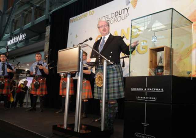 Michael Urquhart, Joint Managing Director of Gordon & MacPhail, describes the spectacular flavour and storied past of Generations Glenlivet 70 Year Old, a $35,888 bottle of whisky which makes its world debut at Vancouver International Airport (YVR) today, as part of the opening of the first World Duty Free store in North America. (CNW Group/Vancouver Airport Authority)